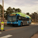 Photo of Rock Region METRO bus at Pulaski Technical College campus